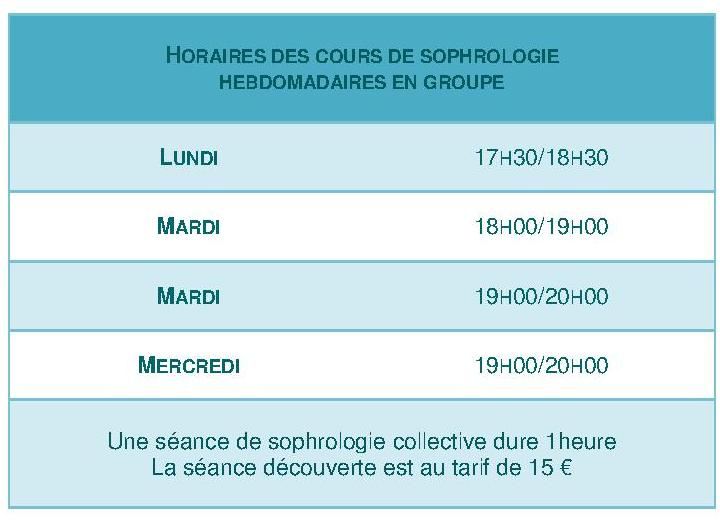 Horaires des cours de sophrologie _2016_